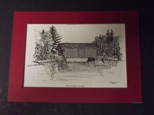 Vintage, Clark M.Goff Print, Sturbrigde Village Covered Bridge, 1974, 5 x 7,