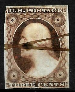 Sc #10/11 Brown Shade Pen Cancel 3 Cent Washington 1851-671 US 8A63