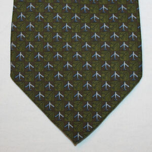 NEW Banana Republic Silk Neck Tie Olive Green & Brown w Airplaines Pattern 1518