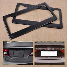 Black 2x Imitation Carbon Fiber Car License Plate Frame Holder Box Tag Blank Set
