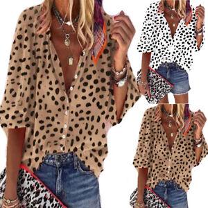 Damen Gepunktet Hemden Bluse V-Ausschnitt Shirt Oberteile Langarm T-Shirt Tops