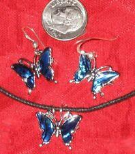 HANDMADE BEAUTIFUL BLUE PAUA ABALONE SHELL BUTTERFLY PENDANT+ EARRINGS SET