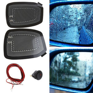 2X Glass Heating Demister Pads Car Side Mirror Heater Defogger Custom w/ Switch