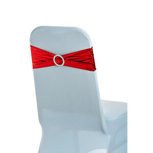 1-100 Shiny Stretch Chair Ribbon With Buckle for Chair Cover Wedding Decor Party
