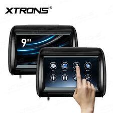"""2x 9"""" Auto Kopfstütze DVD CD Player HDMI 1080P Touchscreen verstellbar 30° AVIN"""