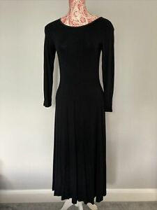 LAURA ASHLEY Vintage Midi Size 10 Black Stretch Long Sleeve Dress