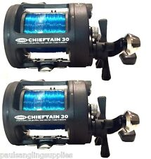 2x Fladen Chieftain Boat Fishing Multiplier Trolling Reels 30lb Line Fitted