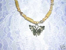 "NEW BUTTERFLY w BAMBOO TUBE & SHELL BEADS 16"" NECKLACE"