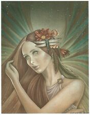 Jessica Galbreth WONDER Angel Print 5x7 Feather Wings Dragonfly Fairy Faery New