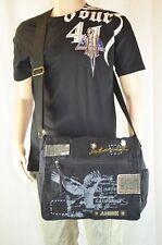Canvas Casual Vintage Look Cross Body Flat Shoulder Messenger Bag(BDW3217)-Black