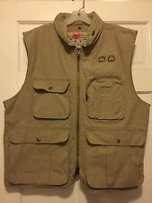 Mens BANANA REPUBLIC Authentic Safari & Travel Vest Cargo Pockets Khaki Hood L