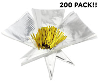 "200 15"" x 7"" Clear Cone-Shaped Treat, Favor & Popcorn Bags (200 Bags + 200 Twist"