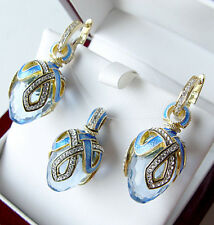 SUPERB ENAMEL EGG PENDANT & EARRINGS SET STERLING SILVER 925  BLUE TOPAZ