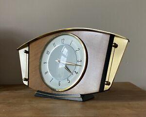 Vintage Art Deco Brass & Wood Metamec Mantle Clock Made In England