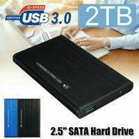 "2TB USB 3.0 Portable 2.5"" External Hard Drive Disk CASE Ultra Slim For Laptop"