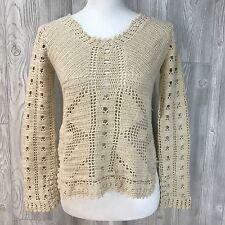 Vtg Sweater Ivory Cream 80's 90's crochet knit Boho Top Shirt S/M See Through