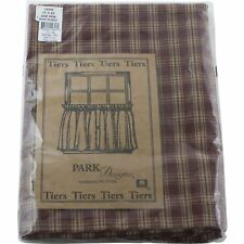 "Park Designs Sturbridge Window Tier 24"" Wine Red & Tan Plaid One Pair"