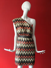 Warehouse One Shoulder Orange & Gold Zig Zag Stripe Sequin Party Dress Size 8