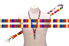 MULTICOLORED RAINBOW Rectangle SATIN LANYARD NECK STRAP RIBBON holder metal clip