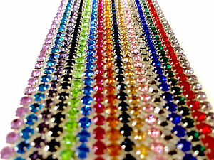 1 Metre Diamante/Rhinestone Crystal Colour Chain Silver Base A++ Quality