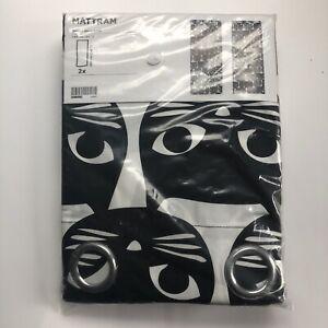 IKEA MATTRAM Curtains Black Cat Pair Two 2 Curtain Panels Midcentury Style