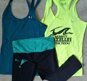 3 Lot Under Armour Womens S Workout Running 5K Tank Gym Yoga 3/4 Capri Leggings