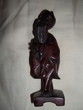 Asian Carved Oriental Wise Man Wood Carving Holding Fish Figure