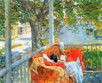 Couch and Veranda at Cos Cob by Hassam Giclee Fine ArtPrint Repro on Canvas