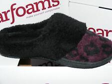 DEARFOAMS purple Black animal print SLIPPERS SMALL 4 5 6 faux fur