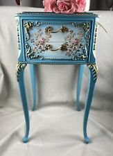 Stunning Blue French Bedside Cabinet Recycled Hand Painted