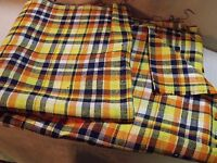 "56"" BY 9' 6"" ( 3 YARDS 6"")  YELLOW / BLUE ORANGE / WHITE COTTON TARTAN FABRIC"