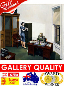 Edward Hopper - Office at Night, 1940, 50x44cm (plus border) Cotton Fine Art
