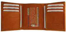 Mens Trifold Genuine Cowhide Leather Wallet Classic Style Cards/ID Tan
