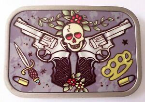 Boucle Bas Deux Guns Crâne Boucle Ceinture Gris/Rouge/Noir / Jaune Métal Adulte