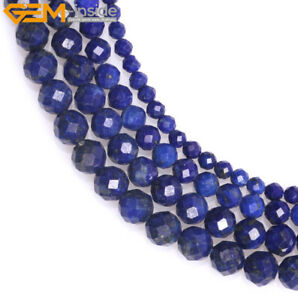 Natural Round Faceted Blue Lapis Lazuli Stone Beads For Jewelry Making Strand