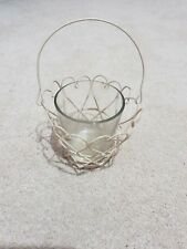 SHABBY CHIC CREAM WIRE HEART HANGING BASKET GLASS VOTIVE TEALIGHT CANDLE HOLDER