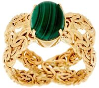 Genuine Green Malachite Gemstone Byzantine X Band Ring Real 14K Yellow Gold QVC