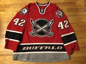 2000-2001 RICHARD SMEHLIK BUFFALO SABRES GAME WORN RED ALTERNATE JERSEY, Size 58