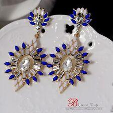 orecchini Clip Pendente Lungo Ovale Blu Bianco Matrimonio Candeliere A3