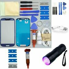 Samsung Galaxy S3 Front Glass Screen Replacement Repair Kit PEBBLE BLUE UV TORCH
