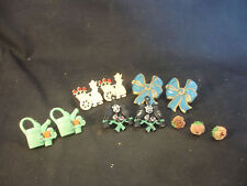 Old Vtg Decorative Pin Brooch LOT Flower Floral Blue Ribbon Bird Singing