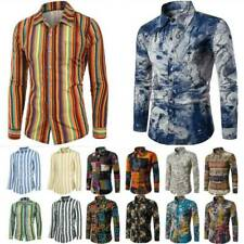 Mens Autumn Vintage Print Long Sleeve T-Shirt Blouse Casual Slim Shirt Tops Tee