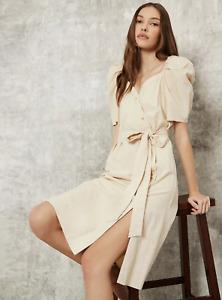 Feminine Surplice Neck Puff Sleeve Belted Dress Natural Fabrics Size S/8 15% off