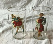 2 Vintage 40's Enamel Litho Pin-Up Girl Drinking Glasses Naughty Inside View