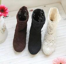 Retro Womens Ankle Boots Low Heels Hollow Out Crochet Pull On Summer Girl Shoes