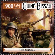 WWII Wehrmacht German Army Soldiers & Tank Destroyer Stamp (2015 Guinea-Bissau)