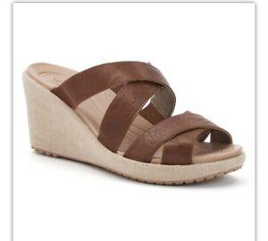 Crocs Leigh Wedge Leather Sandals Hazelnut W8 Uk6