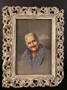 Original Antique Portrait Oil Painting Of A Old Woman