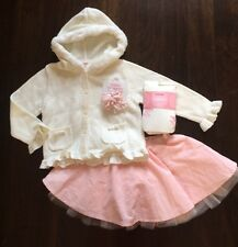 NWT Sz 2T-3T Gymboree Outfit Tulle Skirt Sweater Tights Bows Pink Ballet Dance