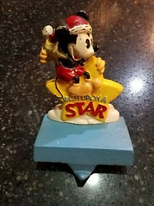 """Vintage Disney Mickey Mouse """"Wish Upon A Star"""" Cast Iron Stocking Hanger Hook"""